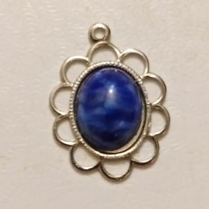 Silver Oval Lapis Charm